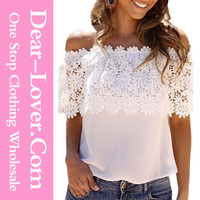 women's tops White Lace Spliced Off Shoulder Chiffon Top
