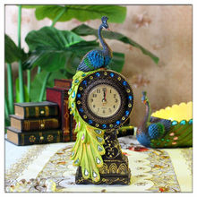2014 China Supplier hot new products resin peacock statue clock,wholesale resin peacock statue