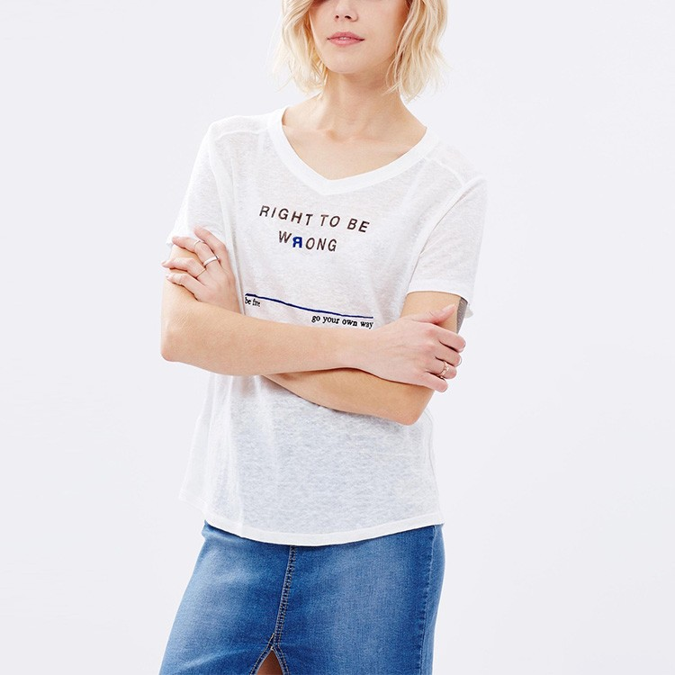China hot sale stylish simple design custom print right to be wrong plain white short sleeve t shirt for women