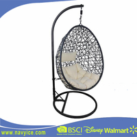 Promotional Garden Round PE Rattan Wicker Swing chair Furniture Fashin Egg Hang chair for outdoor Garden Rattan furniture Set