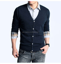 2017 fashion V neck long sleeve plain navy black color mens knitted cardigan