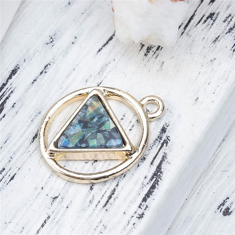 Zinc Based Alloy Charms Geometric Gold Plated Green Triangle Imitation Opal Pendant Decoration