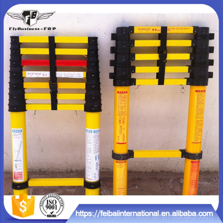 Home use excellent electrical insulating property nonmagnetic telescoping extension ladder