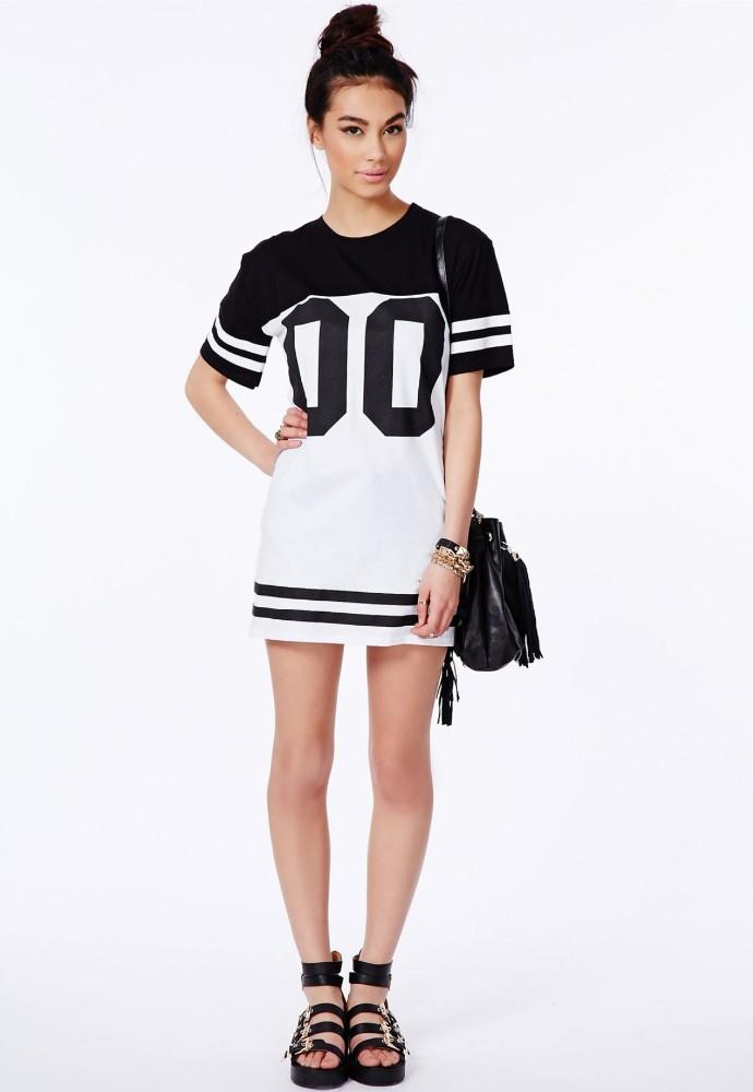 Monochrome loose long t shirt dress baseball jersey dress for Baseball jersey shirt dress
