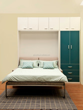 Saving Space Double Murphy Wall Bed with Front Sofa and Bookshelf