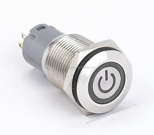 CE ROHS UL 16mm LED illuminated Momentary Push Button Switch with power symbol LED and RING LED