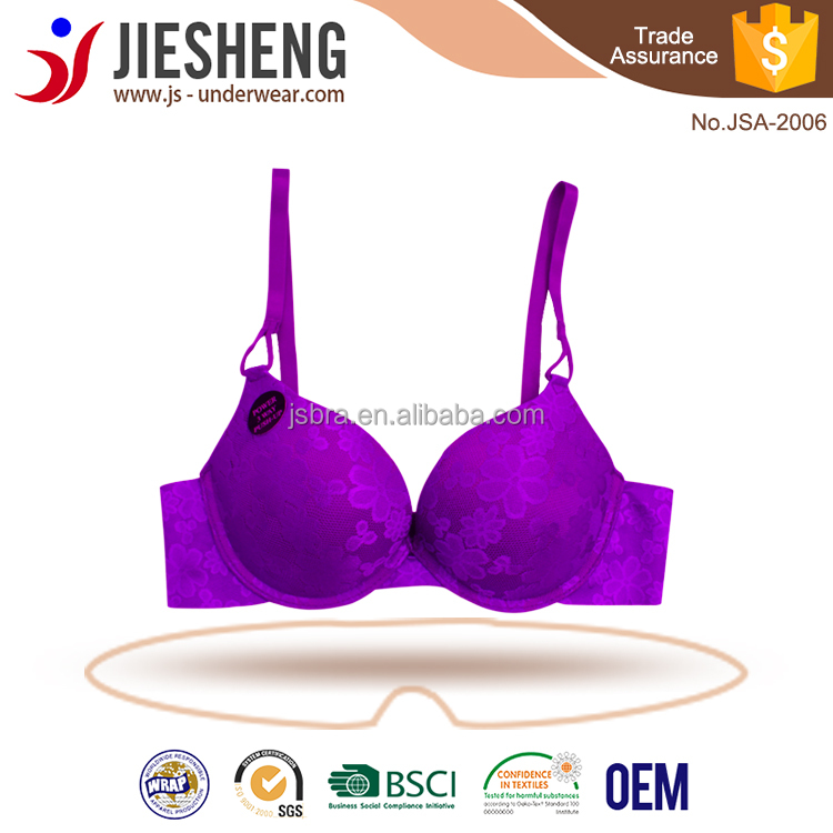 Womens hot sex bra images full jacquard laser cutting extremely push up lady underwear JSA2006
