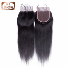 Brazilian Straight Closure,Lace Closure Bleached Knots 100% Virgin Brazilian Human Hair Free/Middle/3 Part Closure