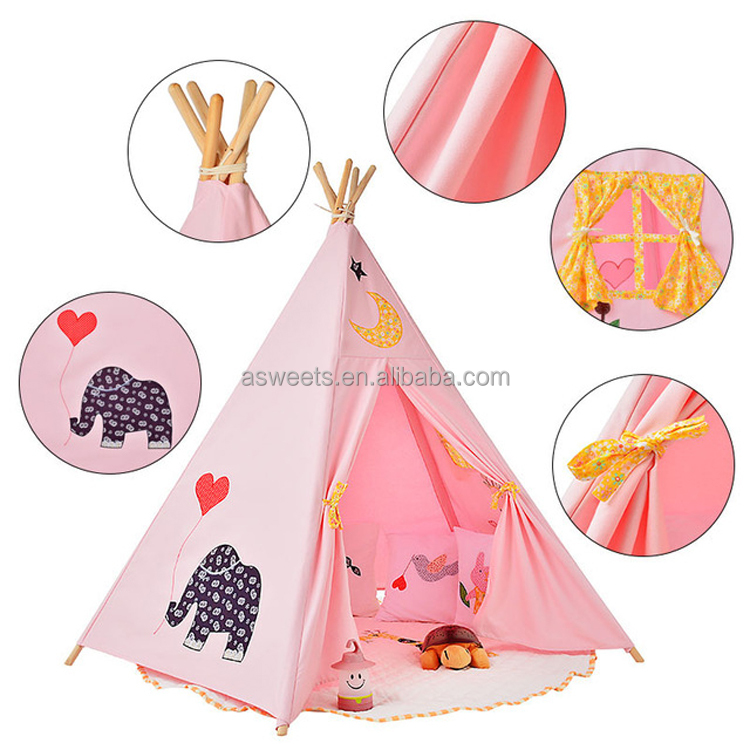 5 Poles Indian Play Tent Children Teepees Kids Tipi Tent Cotton Canvas Teepee White Play House for Baby Room