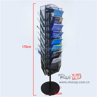 Customized 10-Tier Flooring 3-Side Rotating Metal Flier Display Stand