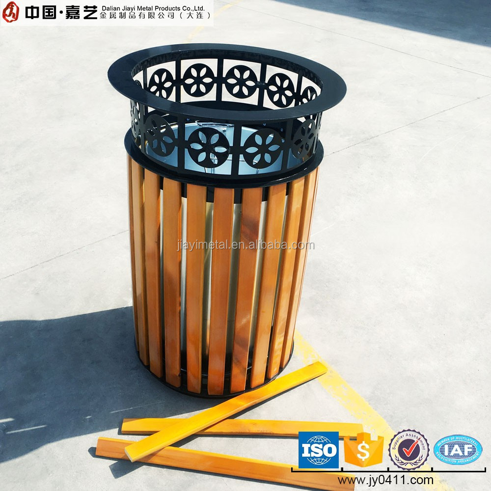 Residential area open top wood and metal decorative round waste bin