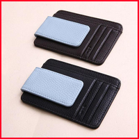 Free Shipping! PU Leather Money Clip Front Pocket Slim Wallet With Magnet Clip and Card ID Case
