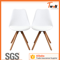 Dining table chairs emes wooden legs chair soild base PU seat chair with plastic T826