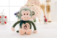 S/M/L/XL New Design Custom green stuffed Plush Lovely Animal Monkey Stuffed Plush Toy with bowtie&embroidered LOGO on belly