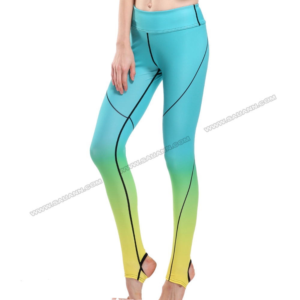 Most popular digital printed ombre footed fitness clothes fitness leggings wholesaler