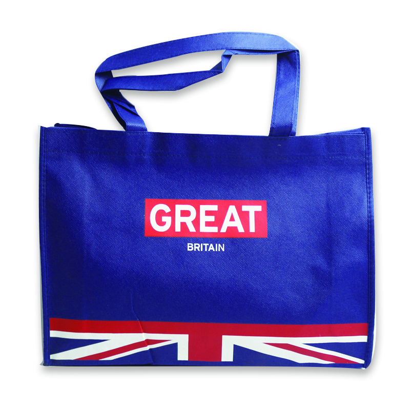 Wholesale customized logo print British flag pattern non woven large shopping tote bag