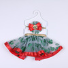 Baby Girl's Bubble Skirt Paillette Grenadine Kid's Tutu Skirt with Hairband