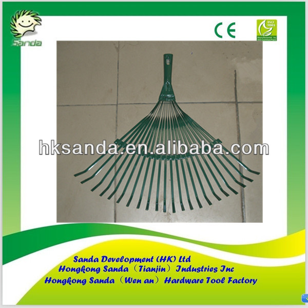 green color metal garden claw rake