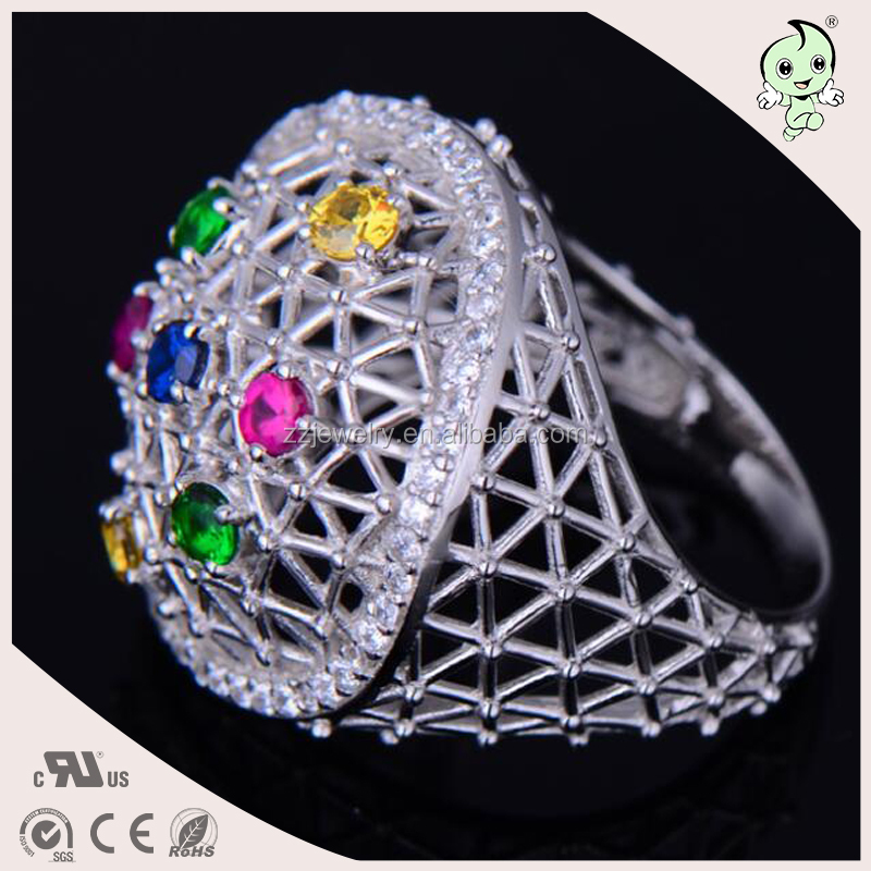 Luxurious famous brand hollow style Plating White Gold pave colorful zircon Bird Net Design Best Gift 925 Sterling Silver Ring