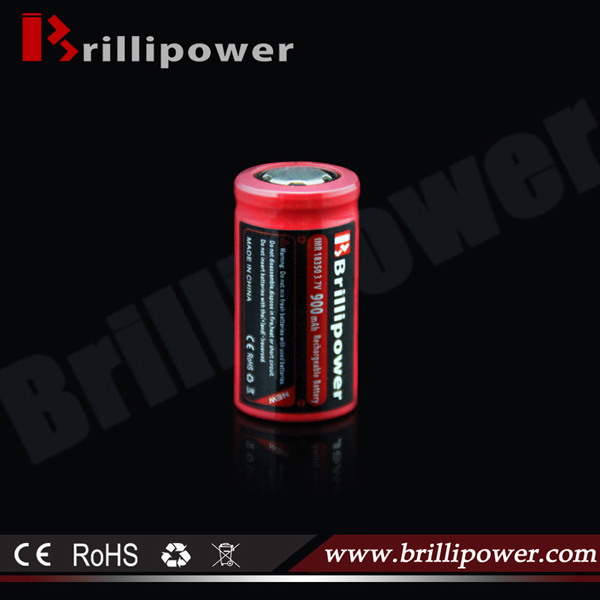 Brillipower rechargeble 18350 li-ion 900mah lava tube ecig battery