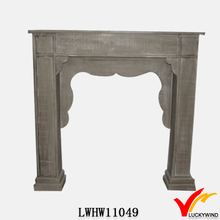 antique french corner fireplace of wood