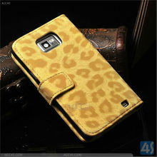 Leopard print wallet standing wallet case for samsung galaxy s2 i9100 P-SAMI9100CASE015