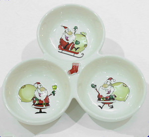 white ceramic christmas decor salad bowl Porcelain 3 section Divided Serving bowls for dried fruits ,nuts