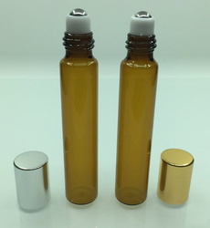 10ml amber color glass roller bottle with stainless steel ball
