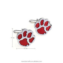 Custom metal silk knot paw replica silver cufflinks