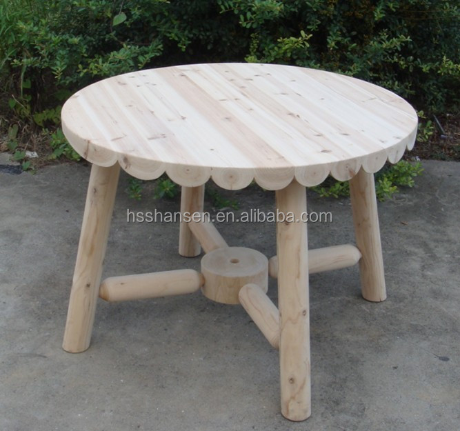 round solid wooden table,round decorative garden table