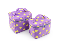 Purple high-capacity portable cosmetic bag