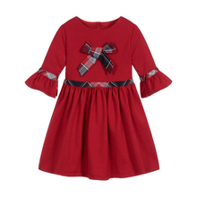 Three Quarter Sleeve Vintage <strong>Girl's</strong> <strong>Dresses</strong>, Classic girl <strong>dress</strong> with plaid bow