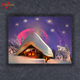 House By Snow Cover In Winter Canvas Paintings,SnowHouse LED Lighting Canvas Painting