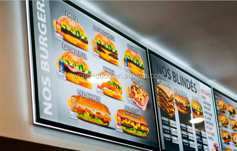 Fast Food Restaurants LED Poster Frame ,outdoor advertising illuminated