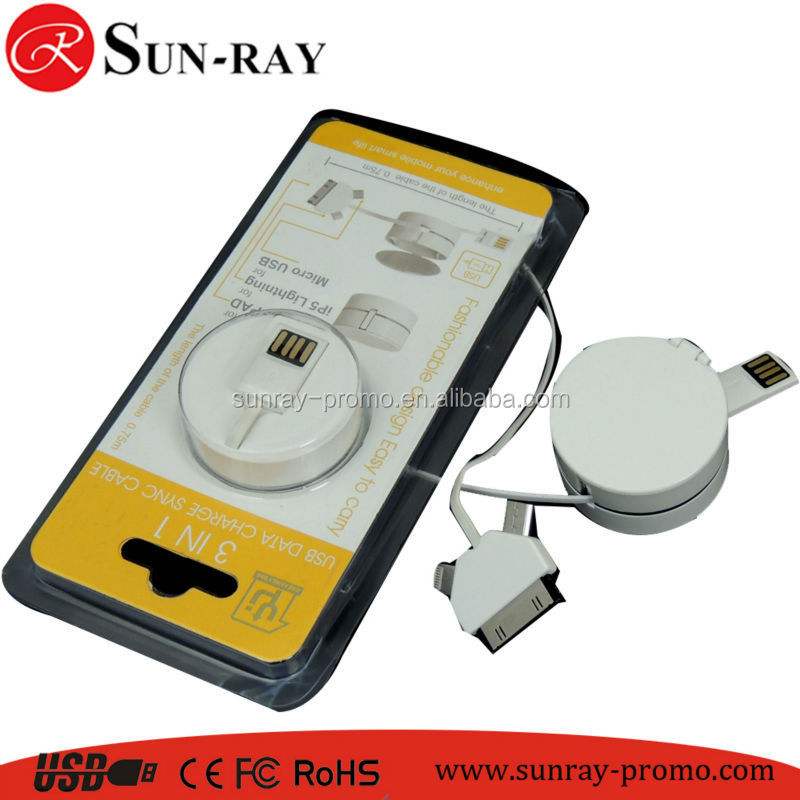 Novel Design 3 In 1 Usb Cable For SUMSUNG and Iphone