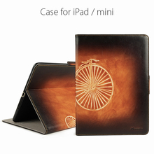 Luxury genuine leather tablet case flip case note book case for iPad Mini