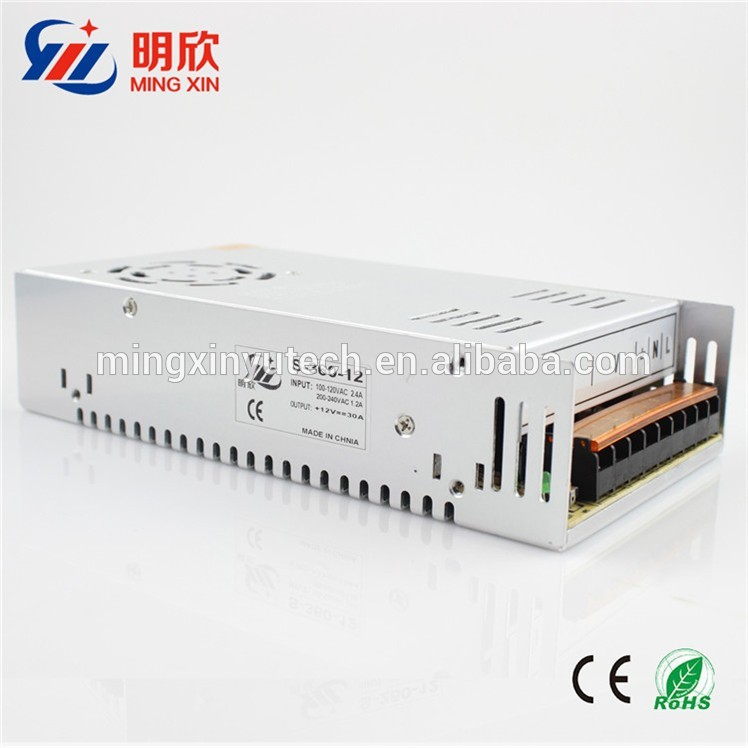 DC 12V 30A switching mode power supply 12V 360W LED Driver with best price with CE ,ROHS .
