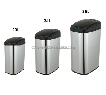 Rounded Square Waste Baskets Touchless Auto-Open Trash Can