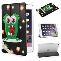 Scare Monster design with PU Leather Case for Apple iPad mini 4 Ultra Slim case with black color