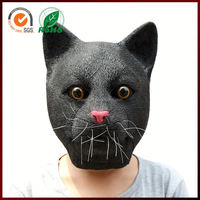 Halloween Adults Costume Animal Black Cat Full Face Head Latex Mask