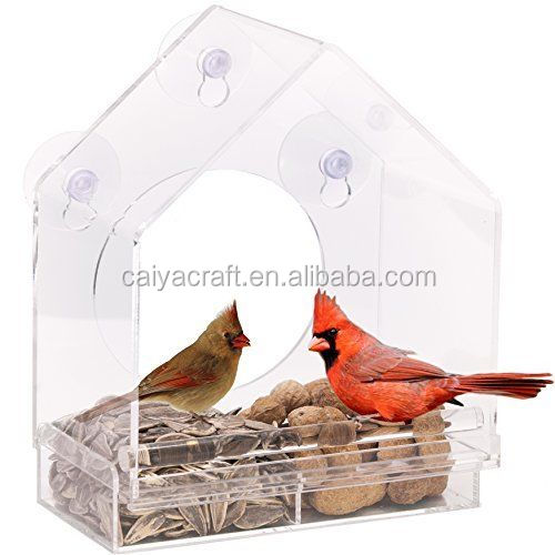 bird feeder house window clear acrylic sliding feed tray nature seed suction