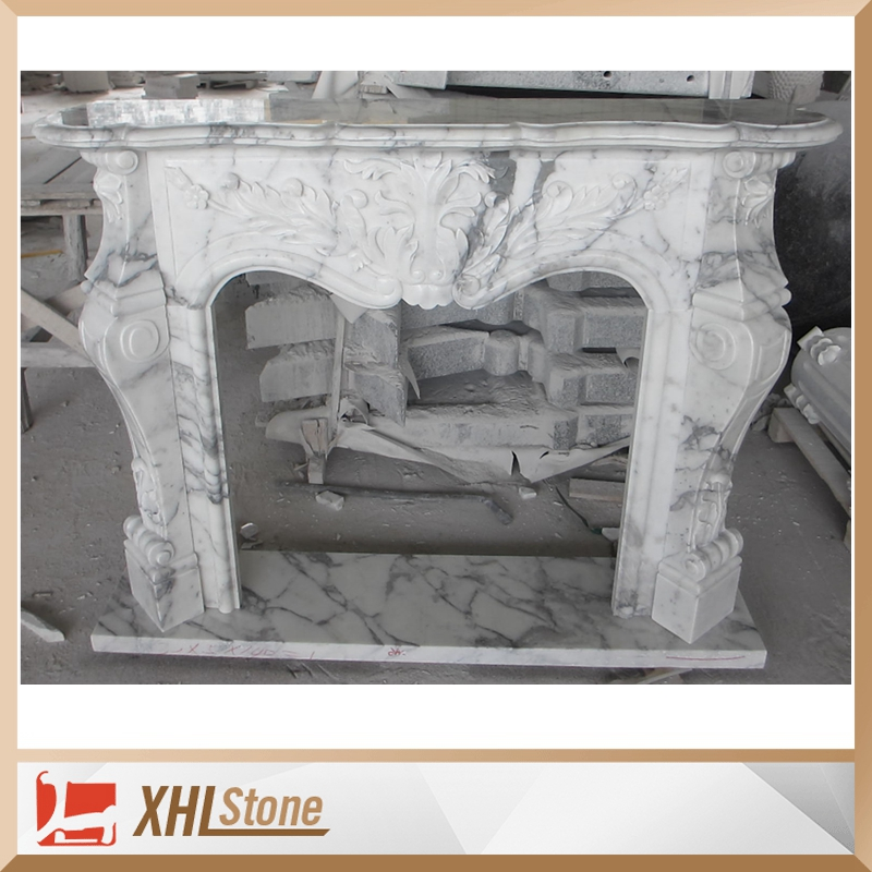 Luxury Style Italy Arabescato Corchia White Marble Fireplace Mantel