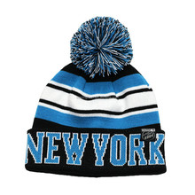 NEW YORK acrylic jacquard stripes knit pom pom beanie hat bobble hat