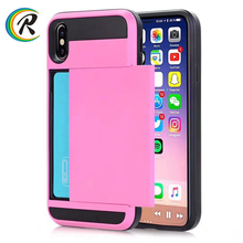 Mobile phone accessories colorful cover tpu pc armor case for iPhone X case Wallet Sliding ID Credit