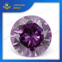 charming factory price round faceted cut voilet loose cubic zirconia