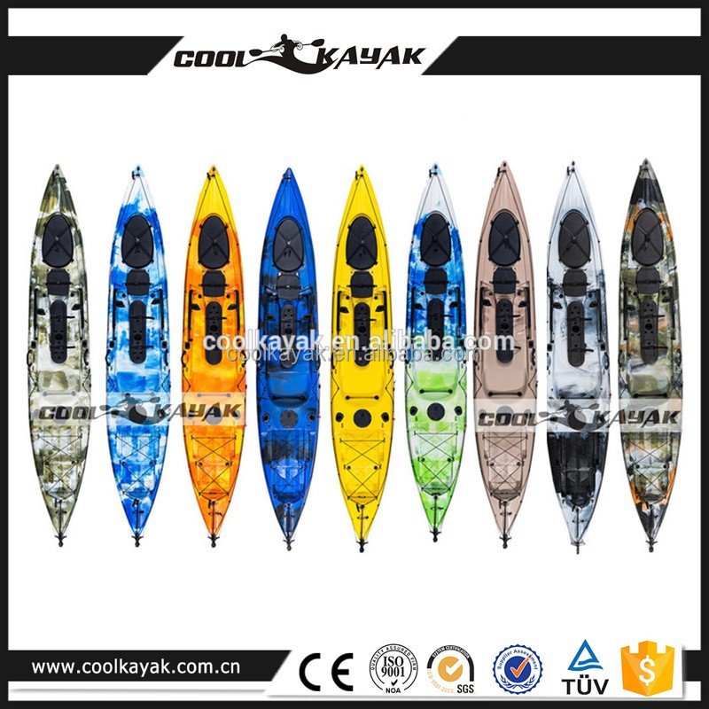 Hot sell plastic ocean canoe which can install fish finder and cooler box from COOLKAYAK -Dace pro angler 14ft kayak
