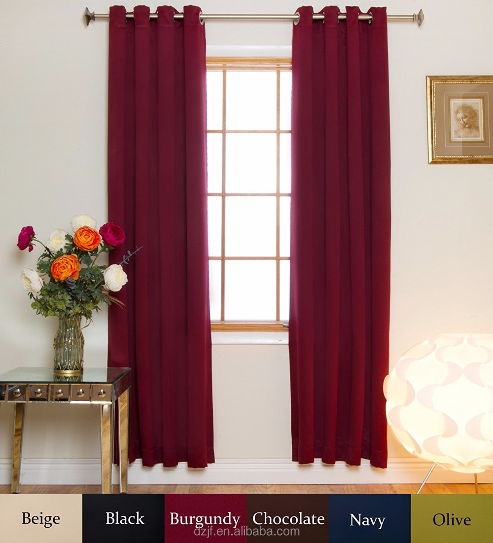 Burgundy Nickel Grommet Top Energy Saving Thermal Insulated Blackout Curtain 120 Inch Length Pair
