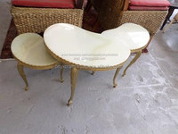 White Onyx Kidney Shape Brass Leg Table