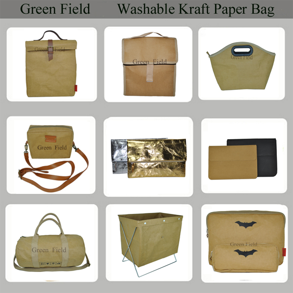 Golden washable kraft paper cosmetic bag,unique paper cosmetic bag