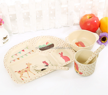 high quality ECO-friendly bamboo fiber 5 pieces kids dinner set tableware
